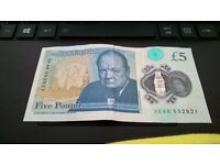 an ak46 new £5 note,in excellent condition