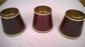 Burgundy lamp shades - set of 3 with gold trim. suitable for wall , ceiling or small lamps