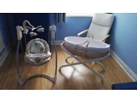 Baby battery operated swing chair and moses basket with stand