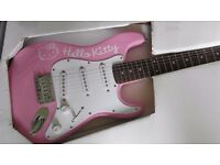 fender stratocaster strat hello kitty 100% mint / boxed /starter guitar collectors grade