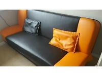 Double leather sofa bed