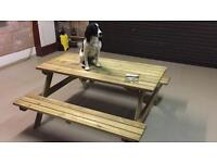 Large Solid Wooden Picnic Bench. New