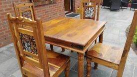 Indian wood square table and chairs