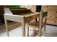Child's (3-7yrs) solid pine desk & chair
