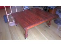 Unique coffee table made from solid crate & bed posts, on wheels, excellent central London bargain
