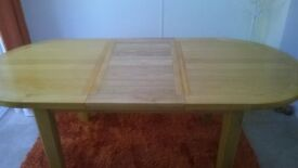 dinning table oak finish and extendable