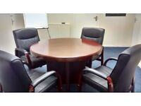 Round meeting table & 4 matching leather chairs