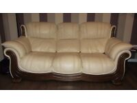 Cream Leather 3 Seater Sofa and 1 Arm Chair