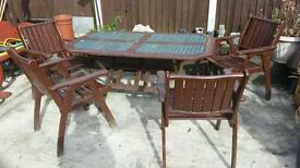 Patio set hardwood 4 chairs and large table