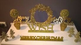 Selection of Gold Glitter Christmas Decorations