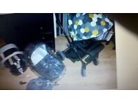 Baby pram mamas papas car seat pushchair 3in1 comes from pet cigarettes free home