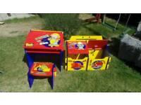 Toy box , small desk , small chair - set Bob the Builder