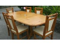 SOLID PINE EXTENDING TABLE & 6 MATCHING CHAIRS