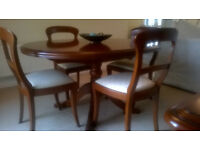 SOLID 'FRENCH CHERRY' EXTENDING DINING TABLE, CHAIRS & DRESSER