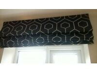 Navy/Silver Roman Blinds x2 120cms and 95cms wide.New from showhome.