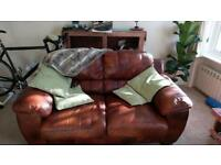 Leather 2 seater and armchair