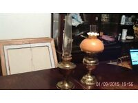 two victorian oil lamps very nice condition