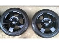 Audi Sport Gloss black alloys + Tyres 7mm tread Refurb superb condition VW T4 Caddy