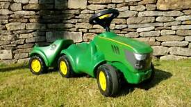Rolly Toys ride-on John Deere tractor + trailer
