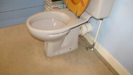 Used 4 Piece Bathroom Suite, tub, loo, sink & standing shower unit. Light silver grey