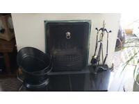Fireside Black Firescreen Coal Scuttle Brush Poker Tongs Shovel Chiltern Fireplace Sets