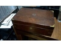 Antique solid wood and brass cigar box excellent central London bargain