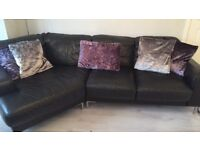 Dfs black leather sofas