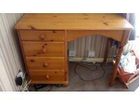 Pine four drawer desk/dresser