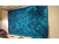 Beautiful silken thread style, teale coloured rug. £20 ono