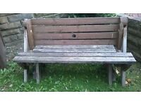 RARE CHUNKY GARDEN SEAT/BENCH THAT CONVERTS INTO A PICNIC TABLE