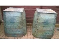 2 x Composting green bins made by Container trading WFW, estimated volume 300/320 litre, £15 each