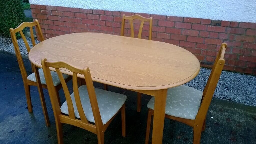 DINING ROOM TABLE AND CHAIRS DINING TABLE DINING ROOM CHAIRS 4 DINING CHAIRS DINING TABLE AN FOURin Dumfries, Dumfries and GallowayGumtree - DINING TABLE AN FOUR CHAIRS Good quality sturdy table with real wood veneer finish and solid wooden legs. Light oak finish. Table measures approx 90cm x 150cm Four chairs of solid wood construction with fabric bases. The table and chairs are in very...