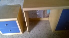 Desk/Dressing table with three drawers and also matching bedside table with two drawers