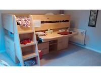 Good quality cabin bed with built in desk, bookshelves, storage and drawers