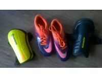 Nike Football Boots Boys size 2 and 2 x pairs shin pads