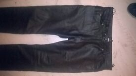leather bikers jeans/pants