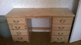 Large waxed pale pine dressing table / desk