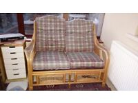 Conservatory furniture - wicker double setee and chair £40 ono.