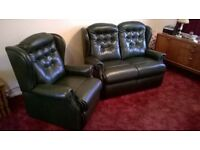 Sherbourne Lynton *Antique Green* Leather Armchair & 2 Seat Sofa (Offers Welcome)
