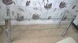 tv unit elegant glass and chrome quality (exellent condition )