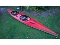 16 FOOT LONG TWO PERSON FIBRE GLASS KAYAK/CANOE