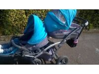 Double Twin Pram Pushchair 3in1