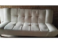 White faux leather Wayfair sofa bed