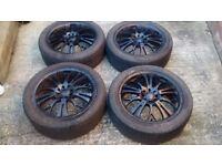"17"" Alloy Wheels and Bridgestone Tyres Multi Stud 4x100 4x114.3 Renault BMW Honda Mazda Nissan"