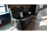 2 seat real leather recliner sofa ex showroom stock