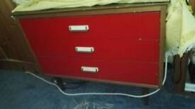 Red antique set of 3 drawers