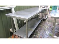 Stainless Steel Kitchen Tables (x2)
