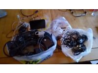 mixed bag of Talk Talk router, Phone Charger, Scart Leads, Aerial Extender Kit etc