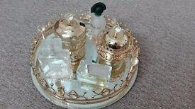Pretty gold glass Oud/perfume tray