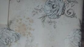 10 rolls of wallpaper cream and gold floral florenza statement x5 and stripe x 5